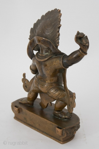 Tibet fine  Mahakala Bronze sculpture Mahakala wears a tiger skin garment with tiger head around the left knee ,in his left hand he holds a flaying knife or vajra and in the  ...