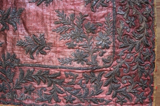 Rare! 1850c. Moghul Zardozi Embroidery of North India - threads  Gold & Silver on silver warp silk weave 