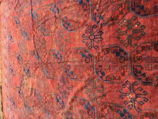 Antique Ersari Main Rug Amu Darya Region saturated colors brocaded Kilim ends and 4 ply selvedge size 320 cm x 205 cm