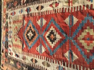 First half 19th Century Karaman Provinz Central Anatolia Prayer Kilim amazing saturated dyes and archaic field drawing  Size circa 170 cm x 98 cm  please Follow the link on EBay https://www.ebay.at/str/soulrugaroma