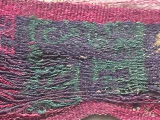 Paracas pre-columbian chancay  Jaguar head band fragment size circa 3 cm / 36 cm any question please ask