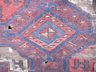 Rar Early main carpet fragment 1800. with Tauk Nuska Gul/Curled Leaf Border the Ground is imperial purple Please enquire for more Information 