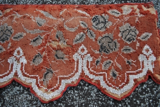 antique Victorian Needlepoint 19th c. red wool,glasbeaded edging please ask for details
