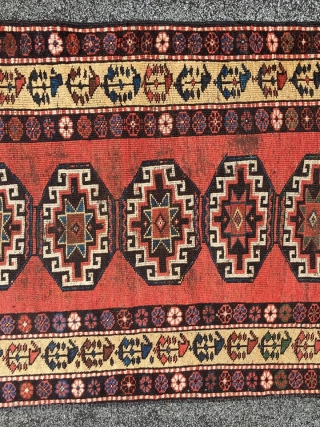 rare antique nw Persian Kelardasht Tabaristan rug around 1900.century with boteh /vase design main border on yellow ground 