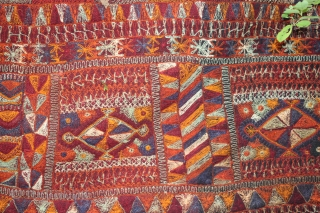 Mesopotamian wedding blanket kilim from the  Marsh Arabs that lived between the Euphrates and Tigris Tomb of Ezra. Flatwoven ground two panels with fringes ,heavily embroidered, natural dye , Sumerian design  ...