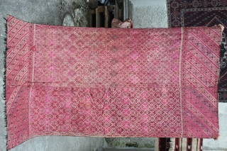 antique and large  19th century Pashtun Swat Valley silk embroidered on cotton Phulkari shawl with cotton fringes please ask
