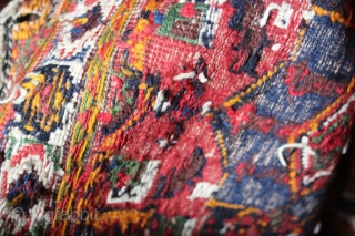 Antique Afshar sumac  cotton highlights  saddel bag kerman 19th c.,Jamal barez Kuhe region persian