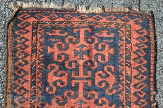 antique 19th century northwest afghanistan bahuli nomad belouch rug  yastik format 58 cm x 105 weft brown hair  goat?   warp SZ2ply brown ivory wool