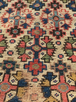 antique ivory ground Runner 19th c north east Persian Āzar Schahr Region