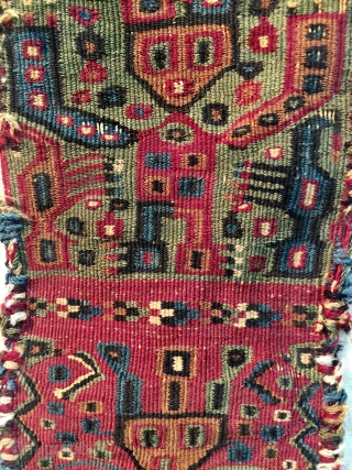 Pre Columbian Wari coastal headband 7th -11 th century complete ends & selvedge cotton and wool - camelid , interlock tapestry weave museums quality related artefacts can be found in American museums  ...