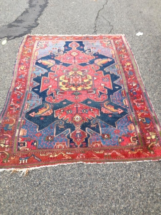 Antique Hamadan Gharaghan Area Carpet 19th century 