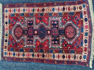 Antique double keyhole/shield 20th c 1900-1920 Baku Kuba shield rug East Caucasian, Azerbaijan border design region khanbaku village rug in mint condition wool warp cotton and wool weft size 161 cm x  ...