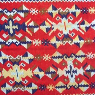 Central Europe 1890-1905   antique Vojvodina Banat tapestry , kilim nice soft wool , some fragmently fringe  cottonwarp size 276 cm x 130 cm Banat serbien , West Rumänien, Nord Jugoslawien, Südost Ungarn