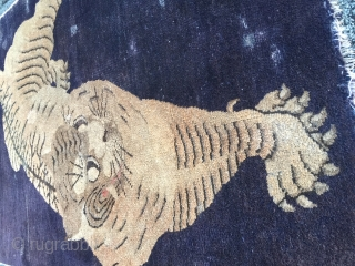 Antique Mongolian Tiger Rug Blackblue ground color some knots (10)green jade color size 174 x 91 cm