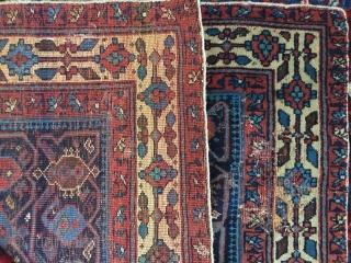1900 -1910 Afshari nomads west Persian  poshti 100 x 70 cm  moth damage good design borders  Beluch designs ?