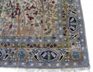 "1920s - 1930s  6' 6"" x 10' 3"" European Tetex Hooked Rug in excellent condition.  Includes shipping/U.S.  3 day returns."