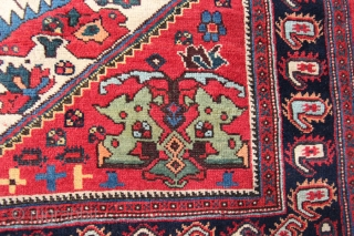 Antique Afshar, late 19th century 1.68 x 1.27m  Excellent condition all over with a good glossy wool pile.  Some small lower areas of wear in the main ivory field, see  ...
