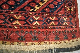 Erasari (MAD) Chuval, pre 1875. large: 1.44 x 1.08 (1.05) m. Brown goat hair wefts, mixed gray, tan & black goat hair warps. Excellent color, and lustrous sheep's wool pile. It has  ...