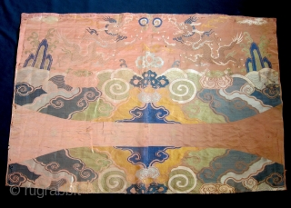 China – Silk embroidered textile.  Dates from the 17th century.  Condition as seen from photos, with some repairs but in generally fine condition with really wonderful natural colors. Two old  ...