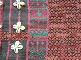 Chin States Myanmar (Burma) woman's handspun cotton blouse/shirt, probably Laytoo Chin.  Old handmade textile with great detail and a lot of ornate beadwork.  Very good condition with a small repair  ...