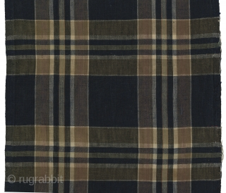 "Group of Vintage Japanese Cotton Plaids. Bought in Japan in the 1970s - were older then. These were used for futon covers. All selvedges intact. Condition varies. #20: Three joined pieces 23""  ..."