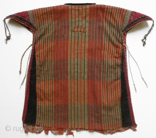 "Turkmen Child's Kurte. An honest piece - not all gussied-up with recently added amulets. Original condition - one small hole as shown in photo. 16"" shoulder to hem. (The hems on children's  ..."