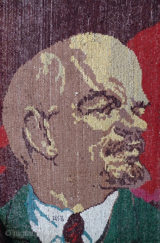 "Lenin Cult of Personality Rug. Uzbekistan, c.1960s. 78"" x 68"". Hand-knotted wool pile on cotton weft. Cotton fringe. Excellent condition - no moth holes; stains or other damage. This rug features Vladimir  ..."