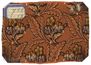 Five 19th Century Silk Jacquard Samples. France, c.1840s. These samples came from a French manufacturer's pattern book. They were woven on a jacquard machine and were the type of fabric that was  ...