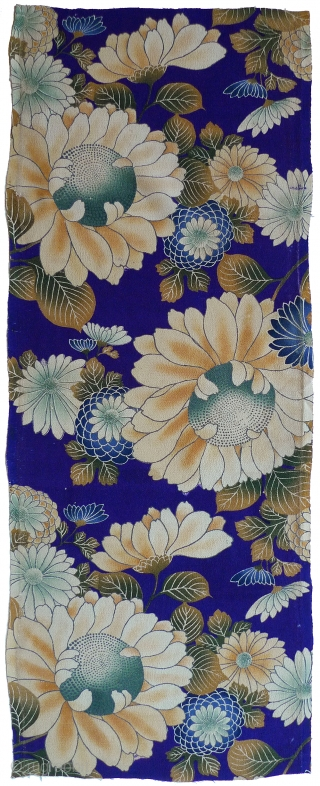 Japanese Silk Yuzen. Sunflowers. Hand-painted with textile dyes on silk chirimen (textured crepe). Delicate shading in flowers and leaves. Good condition  - one small repair (see detail photo); seam marks on  ...