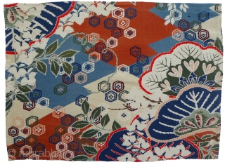 Group of 6 Japanese Silk Yuzen Fragments. Hand-painted with textile dyes on chirimen (textured silk crepe). Were originally part of women's kimonos. Bought in Japan in the 1970s - probably mid-20th century  ...