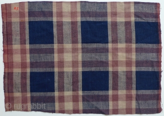 "Group of 12 Japanese Cotton Plaids. Bought in Japan in the 1970s from a boroichi's warehouse - were old then. Good for patching. Assorted sizes and condition. #1 11"" x 13"" selvedge  ..."