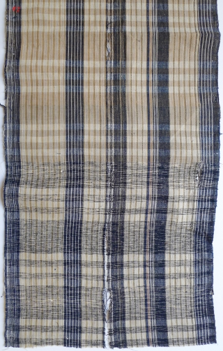 """Group of 12 Japanese Cotton Plaids. Bought in Japan in the 1970s from a boroichi's warehouse - were old then. Good for patching. Assorted sizes and condition. #1 11"""" x 13"""" selvedge  ..."""
