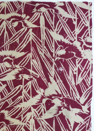 "Vintage Japanese Printed Silk Fabric. Sparrows and grasses. 20"" x 14"" selvedge to selvedge. Printed on silk chirimen (textured crepe). Good condition except for area in top right corner (see detail photo).  ..."