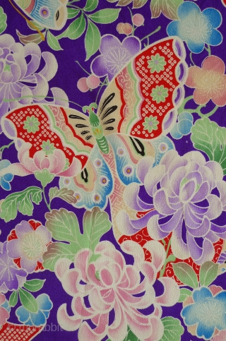 "Japanese Silk Yuzen Butterflies. Hand-painted with textile dyes on silk chirimen (textured crepe). 24"" x 13"" selvedge to selvedge. Originally part of a woman's kimono. Butterflies with faux tie-dye wings fly among  ..."