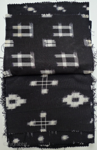 """29 Different Japanese Cotton Kasuri Samples. Black. Average size 7"""" x 6-7""""; all have one selvedge at the top edge. These may be machine-woven - produced sometime prior to the mid-1970s when  ..."""