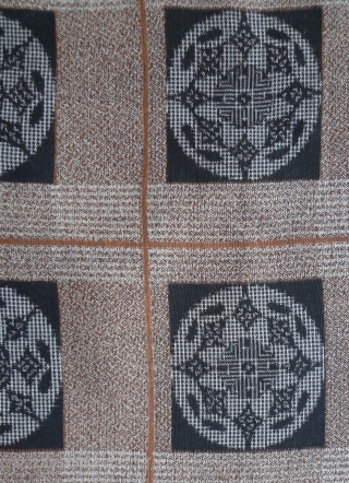 "Old Japanese Woven Cotton Fabric. 41"" x 13.25"" selvedge to selvedge. Main image shows it folded. Good condition except for two holes as shown in photo. This fabric is probably machine-woven with  ..."