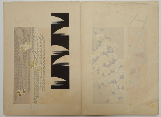 """Japanese Design Book. Japan, 1934. One of a set of three volumes. 14.25"""" x 9.5"""". 25 pages with 2 images per page - some designs highlighted with metallic gold and silver. Appears  ..."""