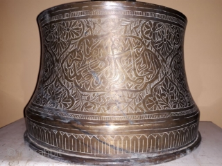 MAMLUK style candle stand of 18tb century . Height 41 cm and dia 31 cm