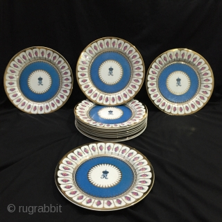 Set of 12 unused Royal Worcester porcelain plates made in order for H.H Nawab Hamid ali khan of Rampur state in India . AiE : 11 inches . For more details contact  ...