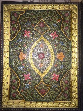 Rare lacquered binding illuminated quran manuscript of Royal quality .
