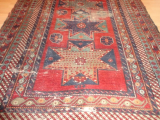 Antique  Archaic  Bortshalu  Star  Kasack 19 th. century 175 X 231 cm    Very nice  natural colors , wear in places , few small holes  ...