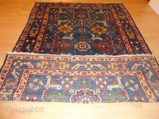 Fine  Antique  caucasian  Blossom Kuba rug  round  1910       122 X 180 cm. , rare  light blue  ground with  ...