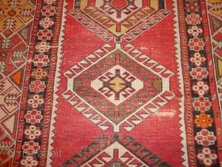 Antique  caucasian   Shirwan    135 X 315 cm , roud  1900      slight  wear oxydat braun , two very  ...