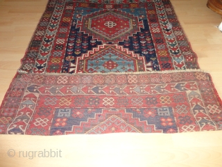 Colourful antique  beautiful Kasak  19 th. century , all  natural  colours ,