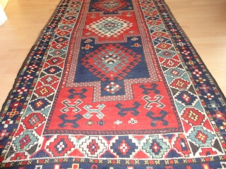 Fine   antique   kasak  19 th. century  106 X 212 cm  Saturated  natural dyes ,