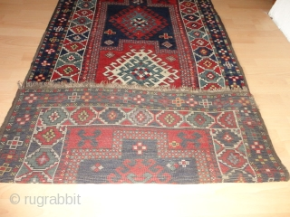 Fine   antique   kasak  19 th. century  106 X 212 cm  Saturated  natural dyes ,    browns  oxidized    ...