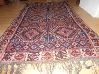 Antique  Kurd  Waramin  Kelim  round  1900  148 X 230 cm. rare  , fine weave  , very  dekorative  , perfekt   ...