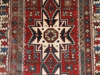 Antique   Kuba Lesghi  19 th. century  125 X 218  cm.     Komplet , beautiful  naturel colors ,shows wear or oxydate  ...