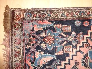 Antique  Bidjar  rug  West-Persien   85 X 160 cm  , nice naturel colours ,  wool   foundation  , one moth  damage in one corner otherweis  ...