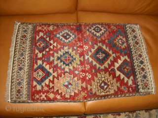2 Mafrash - bagface - Caucasian - North-West Persian? - sewn together years ago - very nice colors - soft wool - rare drawing (size: 45 x 73 cm) decorative